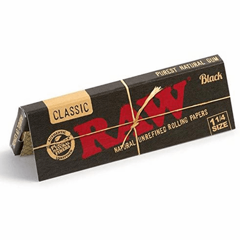 Raw Classic Black 1 1/4 Natural Unrefined Unbleached Ultra Thin Cigarette Rolling Papers