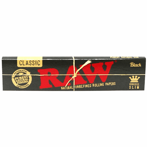Raw Classic Black King Size Slim Natural Unrefined Unbleached Ultra Thin 110mm Cigarette Rolling Papers