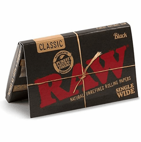 Raw Classic Black Single Wide Double Feed Natural Unrefined Unbleached Ultra Thin Cigarette Rolling Papers