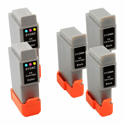 5 Pack - Replacement ink cartridges for Canon BCI-24 Black & BCI-24 Color