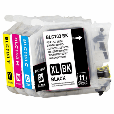 Brother LC103 XL Ink Cartridges - Compatible 4 Pack Combo Replacement