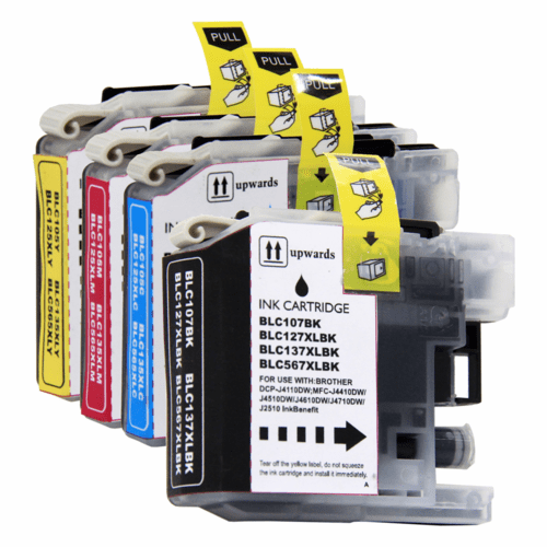 Brother LC107 XXL, LC105 XXL Ink Cartridges - Compatible Replacement 4 Pack Combo