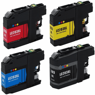 New Compatible Brother LC203 XL Ink Cartridges - Replacement Brand 4 Pack Combo