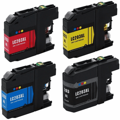 Brother LC203 XL Ink Cartridges - Set of 4 Compatible XL Replacements