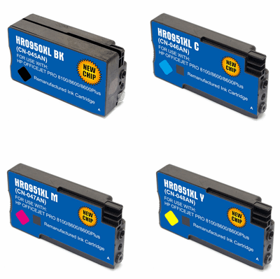 Compatible HP 950XL 951XL Ink Cartridges 4 Pack Combo