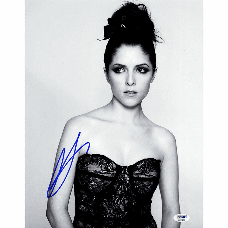 Anna Kendrick Signed 11x14 Vertical Black and White Black Dress Photo