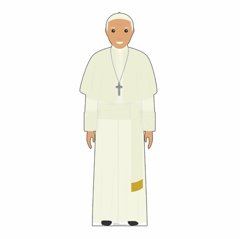 Cartoon Pope in White Standee
