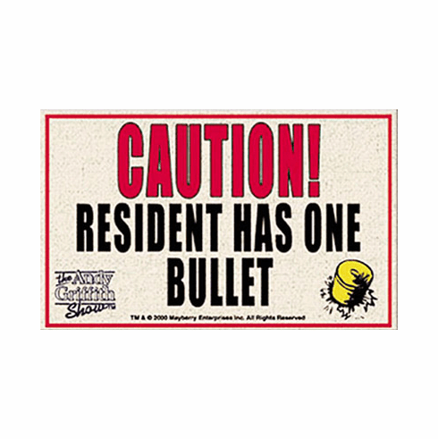 Caution! One Bullet Welcome Mat