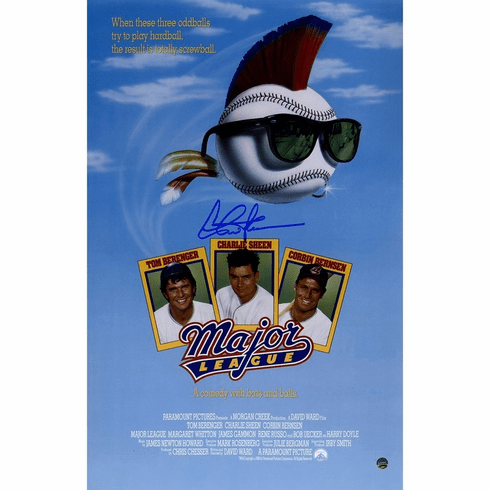 Charlie Sheen Signed Major League 11x17 Poster