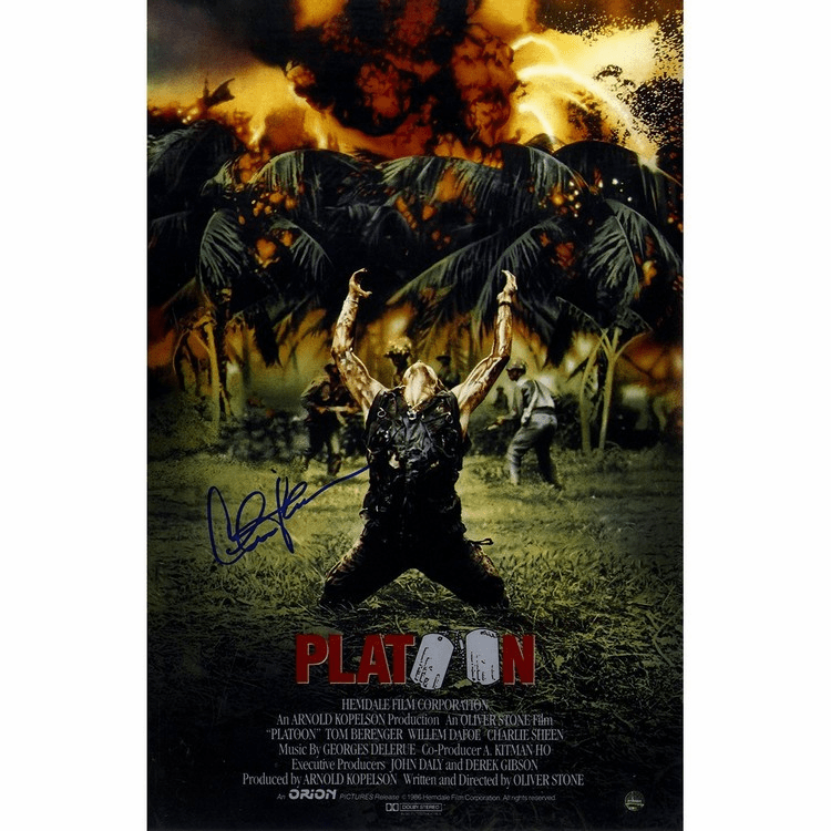 Charlie Sheen Signed Platoon 11x17 Poster (Signed in Blue)