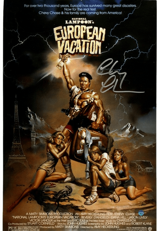 Chevy Chase Signed 11x17 Poster National Lampoons European Vacation