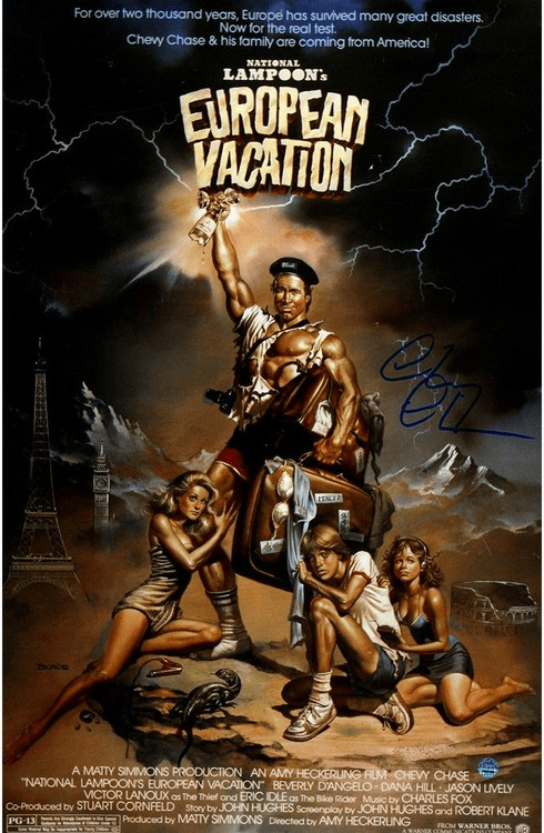 Chevy Chase Signed National Lampoon's European Vacation 11x17 Poster