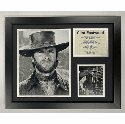Clint Eastwood Western Icon Collectible Framed Photo Collage