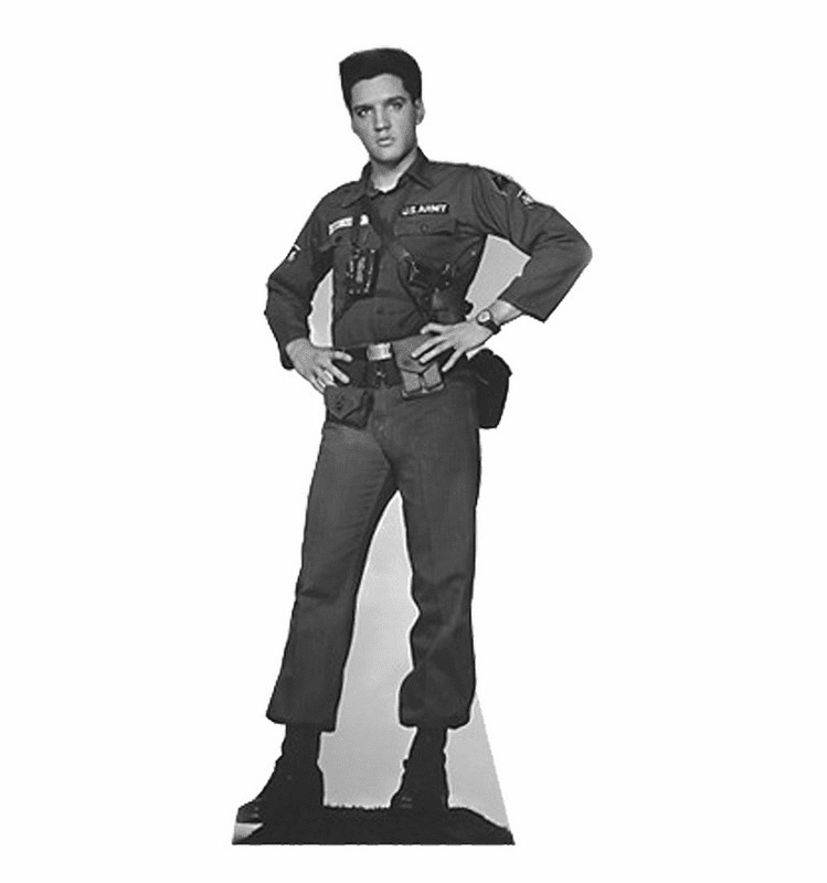 Elvis Presley Army Fatigues Talking Cardboard Cutout