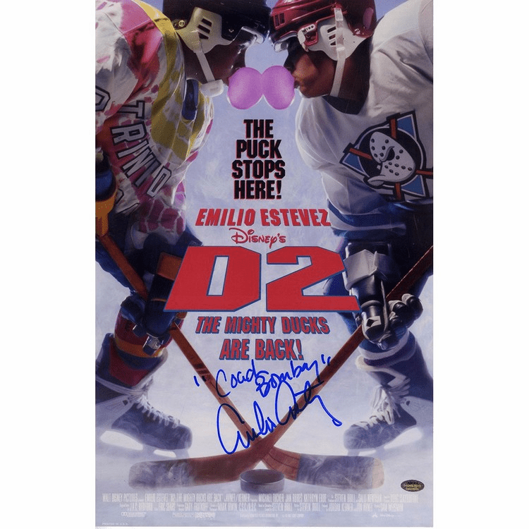 Emilio Estevez Signed 11x17 D2: Mighty Ducks Poster Coach Bombay Inscr