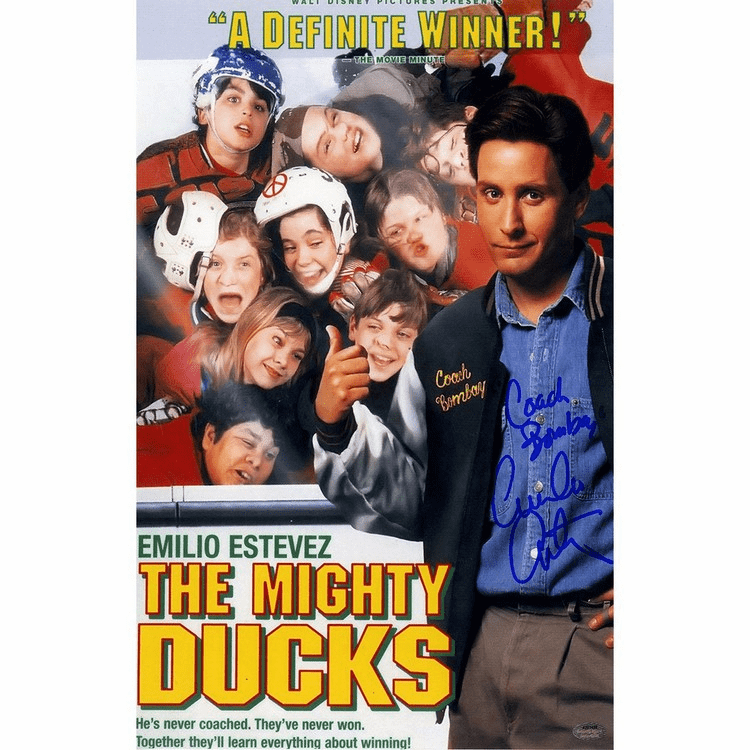 "Emilio Estevez Signed 11x17 Mighty Ducks Poster ""Coach Bombay"" Inscr"