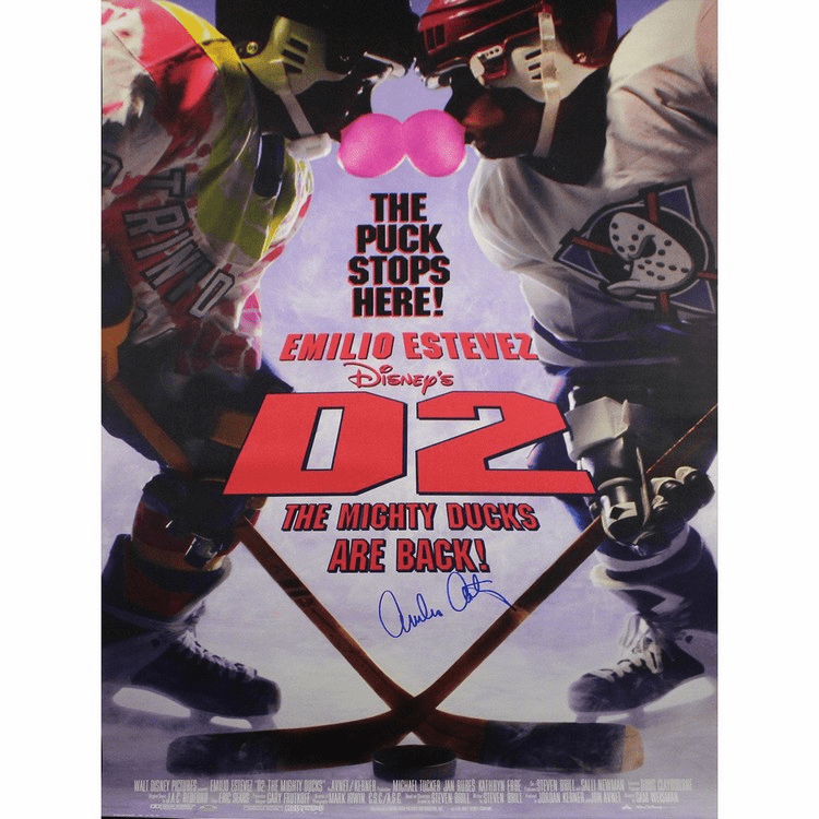 Emilio Estevez Signed Full Size D2: Mighty Ducks 27x40 Poster