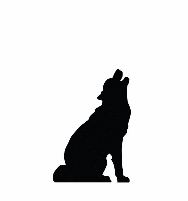 Howling Wolf Silhouette Standee