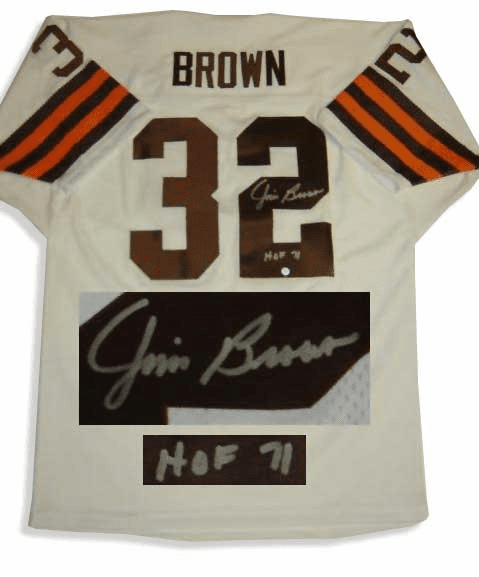 Jim Brown Cleveland Browns Autographed NFL White Throwback Jersey