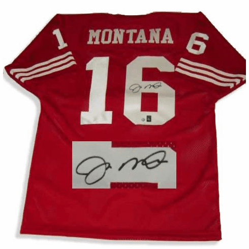 save off 43a89 cb3e1 Joe Montana San Francisco 49ers Autographed NFL Throwback Red Jersey