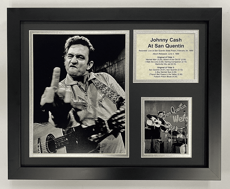 Johnny Cash at San Quentin  Collectible Framed Photo Collage