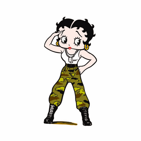 Life Size Betty Boop Standee - Army Fatigues