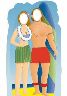 Life Size Surf Board Couple Standee on the Beach