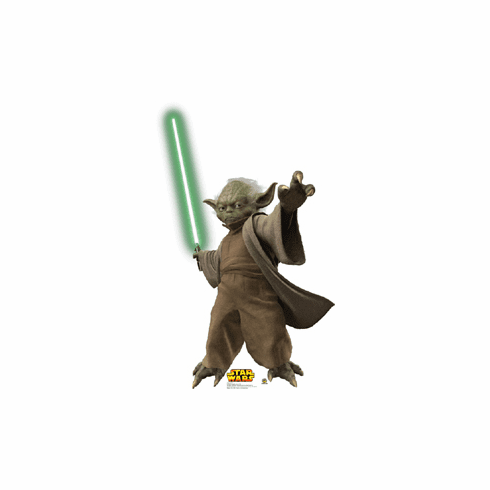 Life Size Yoda Standee with Light Saber