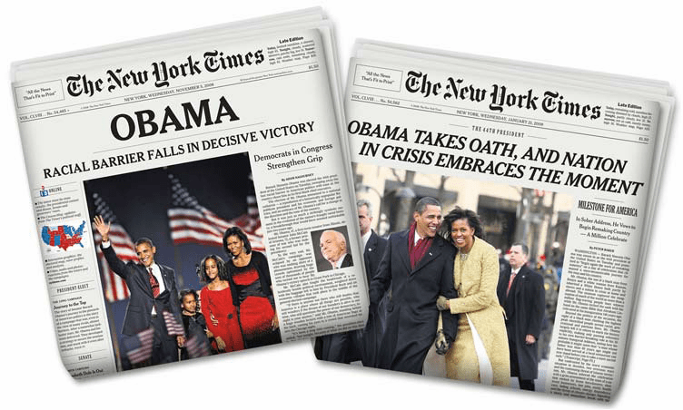 Original New York Times Newspaper Combo - Barack Obama's Election & Inauguration