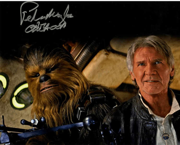 Peter Mayhew Signed 'Chewbacca and Han Solo Episode VII 8x10 Photo