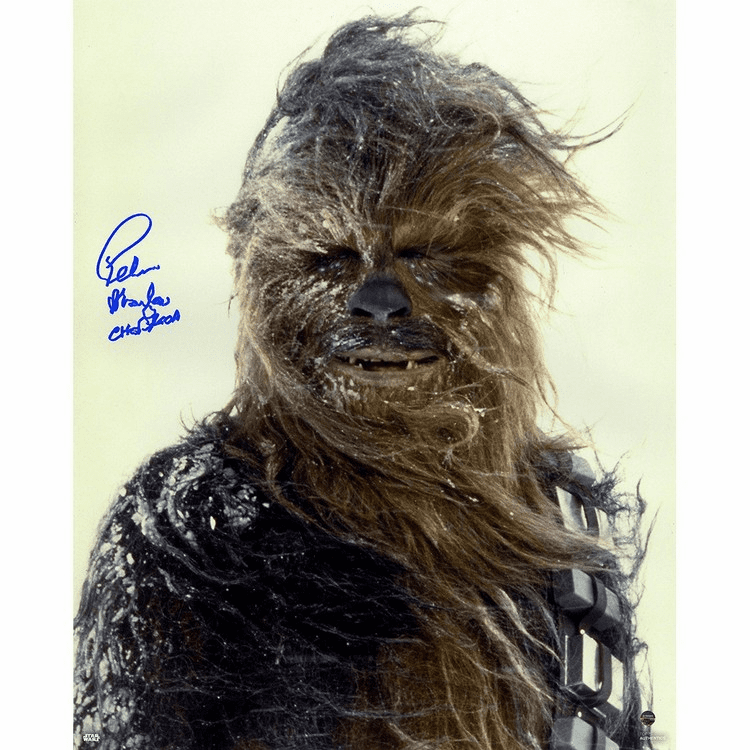 Peter Mayhew Signed 'Chewbacca in the Snow' Vertical 16x20 Photo