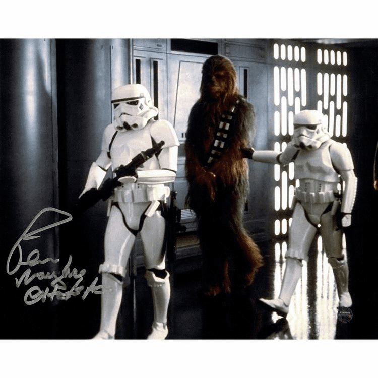 Peter Mayhew Signed Chewbacca 'Prisoner of Storm Trooper' 8x10 Photo