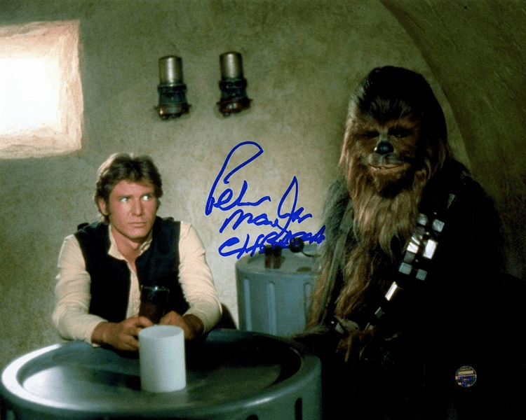 Peter Mayhew Signed 'Han Solo and Chewbacca in Cantina' 8x10 Photo