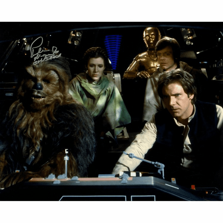 Peter Mayhew Signed Photo 16x20 Chewbacca Leia C3PO Luke & Han Solo