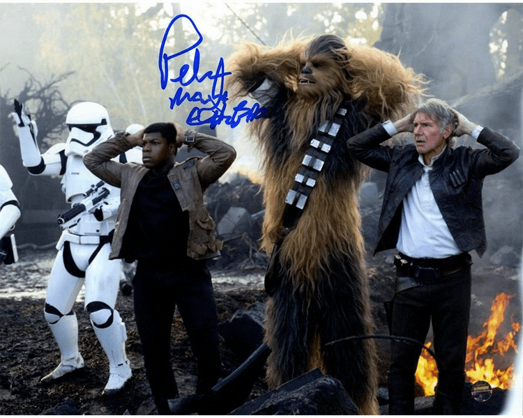Peter Mayhew Signed Photo 8x10 'Finn Chewbacca & Han Solo Under Arrest