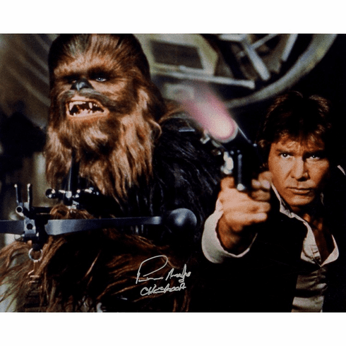 Peter Mayhew Signed Photo 'Chewbacca & Han Solo Defending the Falcon