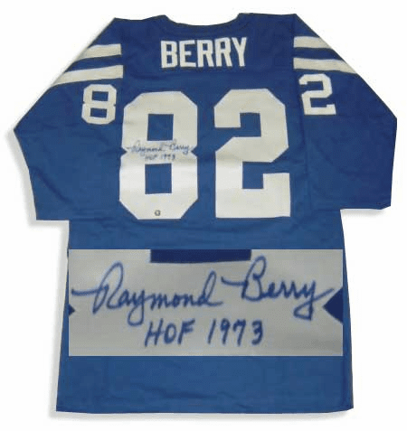 Raymond Berry Baltimore Colts Autographed NFL Throwback Blue Jersey
