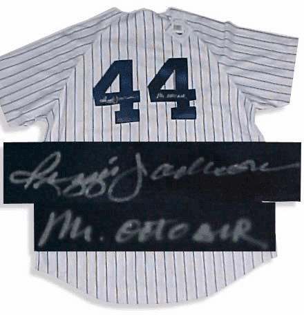 Reggie Jackson NY Yankees Autographed MLB Cooperstown Throwback Jersey