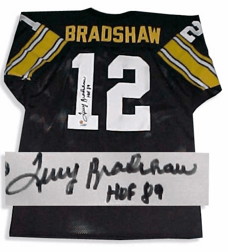Terry Bradshaw Steelers Autographed NFL Throwback Black Jersey