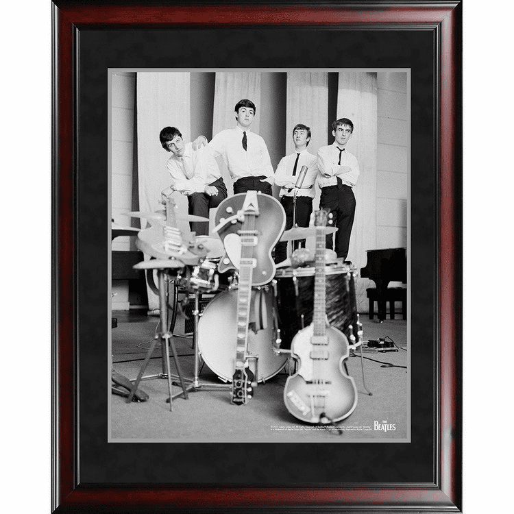 The Beatles 1962 Black & White Pose With Instruments 8x10 Framed Photo