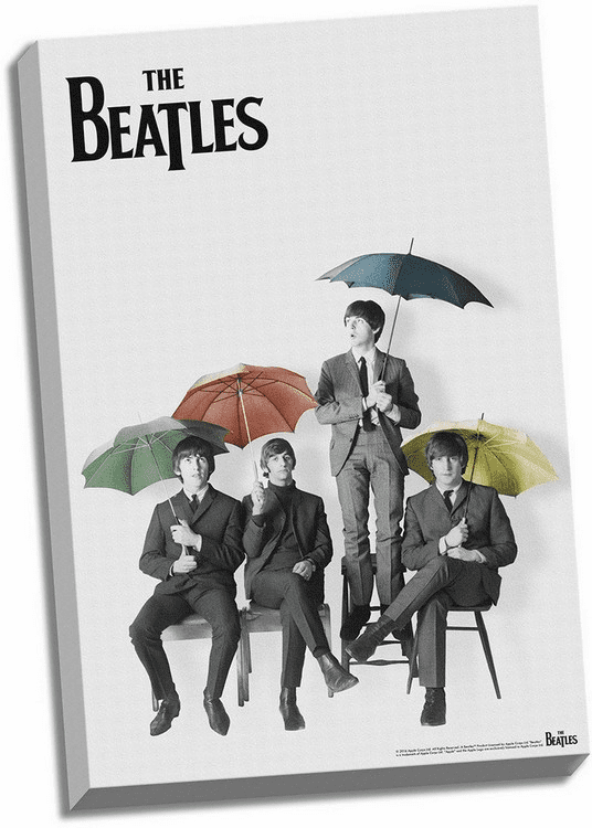 The Beatles Black & White with Color Umbrellas 24x36 Stretched Canvas