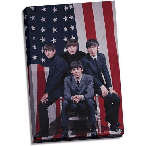 The Beatles US Flag 24x36 Stretched Canvas