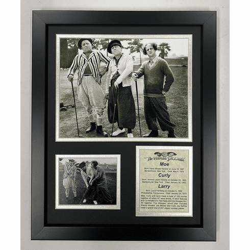 Three Stooges Golf Black White Framed Photo Collage 11 by 14-Inch