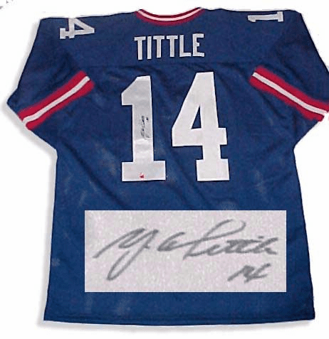 Y.A.Tittle New York Giants Authentic Autographed NFL Throwback Jersey