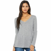Bella Canvas Ladie's Flowy Long Sleeve V-Neck
