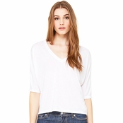 Bella Canvas Ladie's Flowy V-Neck Cropped T-Shirt