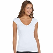Bella Canvas Ladie's Sheer Rib Deep V-Neck T-shirt