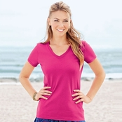 Fruit of the Loom Ladies 100% Heavy Cotton HD V-Neck T-Shirt