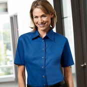 Harriton Ladies' Short-Sleeve Stain-Release Twill Shirt