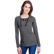 LAT Ladies Long Sleeve Fine Jersey Lace-Up T-Shirt
